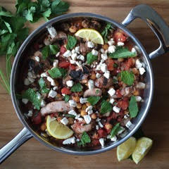 Champignons et tomates avec Frauxmage Grec